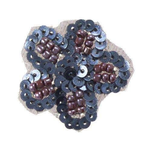Bügelbild Bluete silber grau