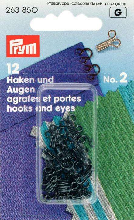 kn pfe kurzwaren kaufen 12 haken und augen sen no2. Black Bedroom Furniture Sets. Home Design Ideas