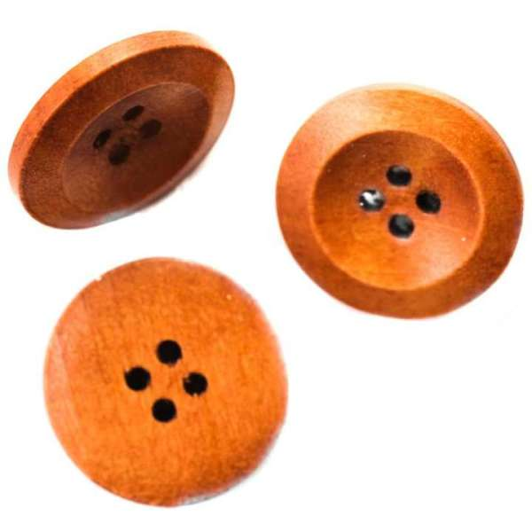 Holzknöpfe 4-Loch mit Rand HK-48